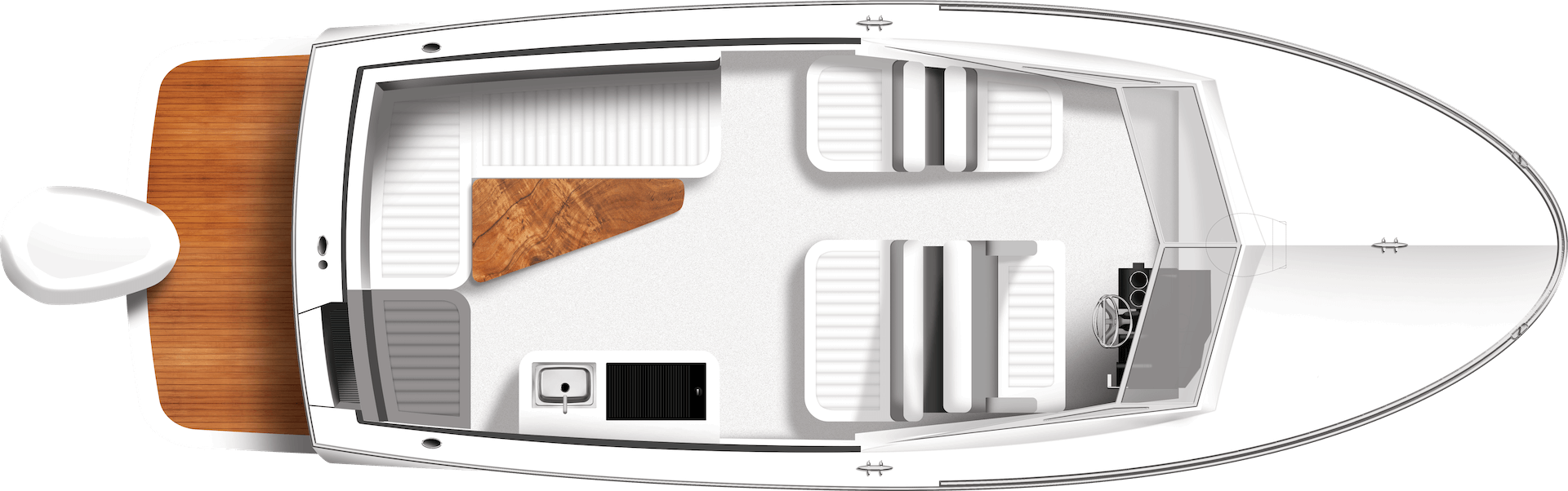250R Runabout Day Arrangement Overhead Rendering